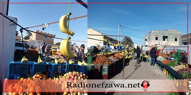 اقبال كبير للمواطنين اليوم على السوق الاسبوعي للخضر بقبلي
